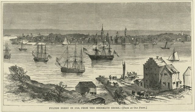 Fulton Ferry in 1750 from the Brooklyn Side