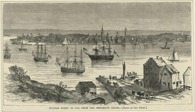Fulton Ferry in 1750 from the Brooklyn Side